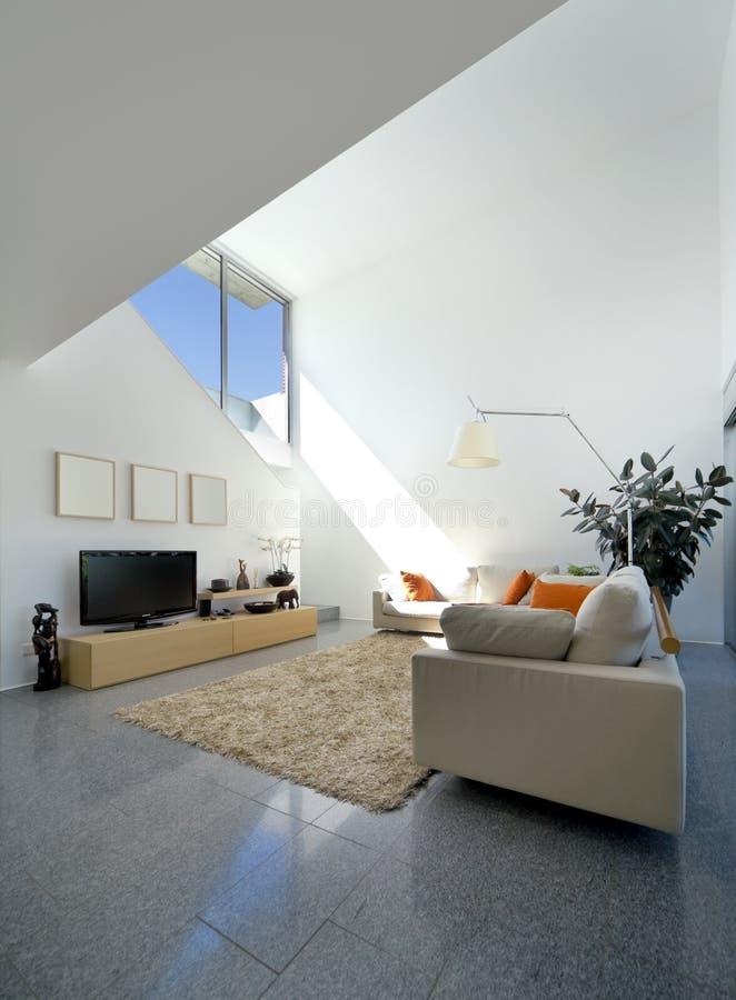 casa moderna interior do tijolo imagens de stock