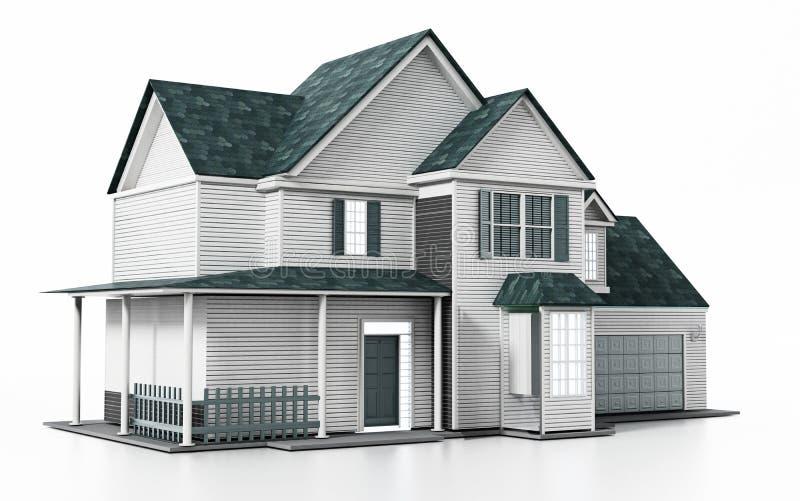 Casa moderna lussuosa isolata su fondo bianco illustrazione 3D illustrazione vettoriale