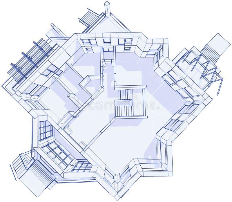 Casa moderna - modelo ilustração stock