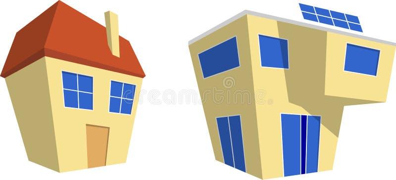 Casa moderna y retra libre illustration
