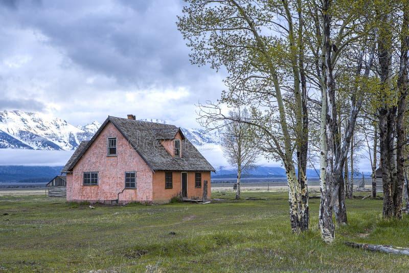 Casa mormona vieja en el parque nacional de Teton imagen de archivo libre de regalías
