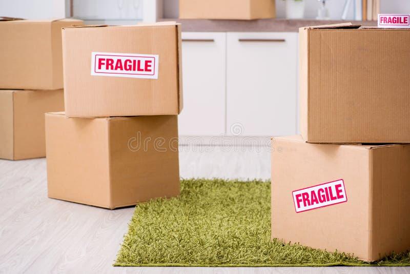 A casa movente do homem e relocating com artigos frágeis imagem de stock
