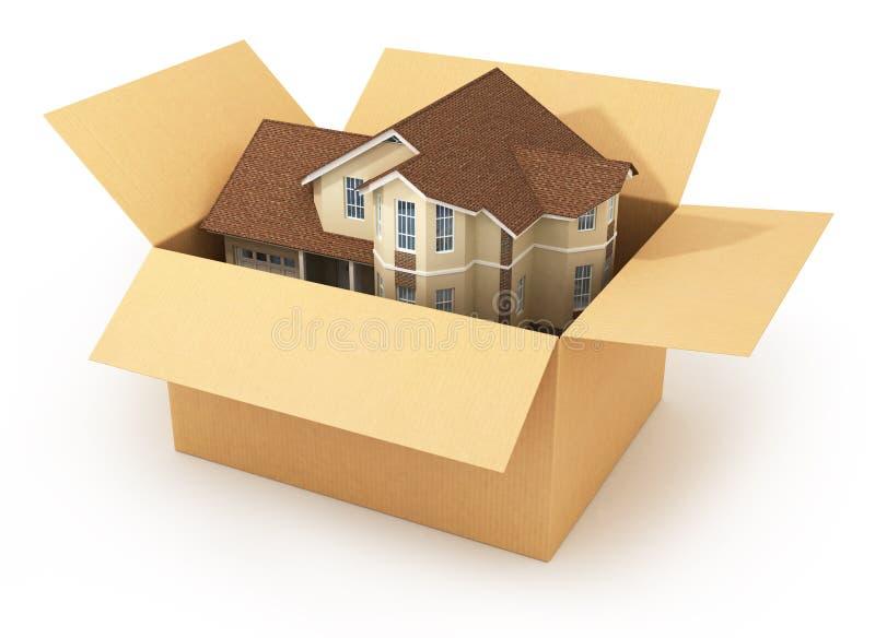 Casa movente Mercado imobiliário Imagem tridimensional fotografia de stock