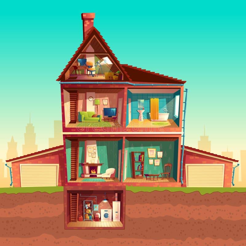 Casa multistorey del fumetto di vettore nella sezione trasversale illustrazione vettoriale