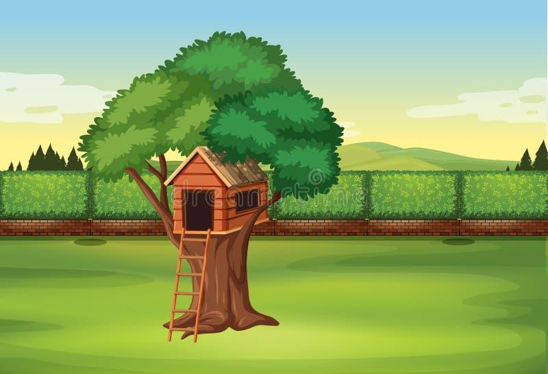 Casa na árvore na cena do parque ilustração stock