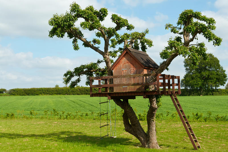 Casa na árvore criativa bonita fotografia de stock royalty free