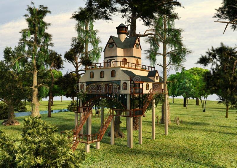casa na árvore do estilo do alojamento da ilustração 3D ilustração royalty free