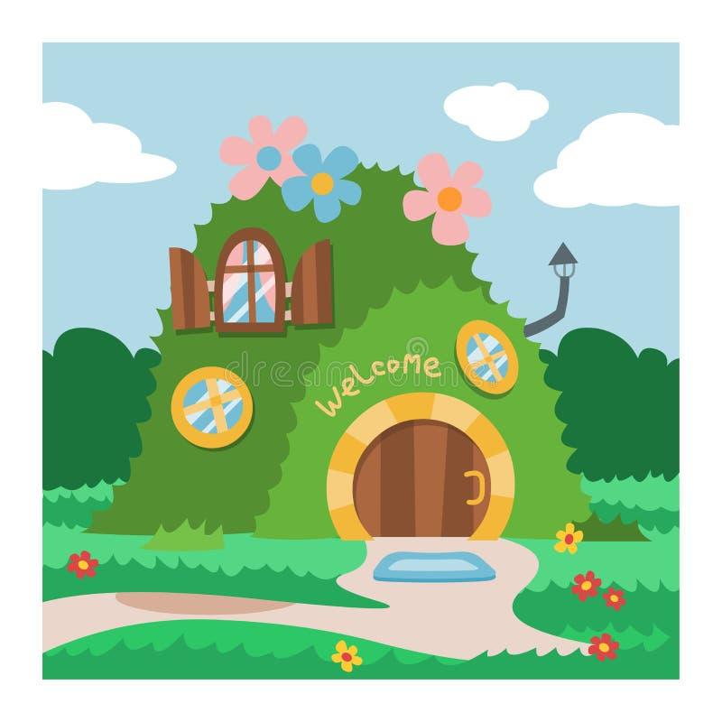 Casa na árvore feericamente dos desenhos animados do vetor da casa do gnomo da fantasia e grupo de abrigo mágico da ilustração da ilustração do vetor