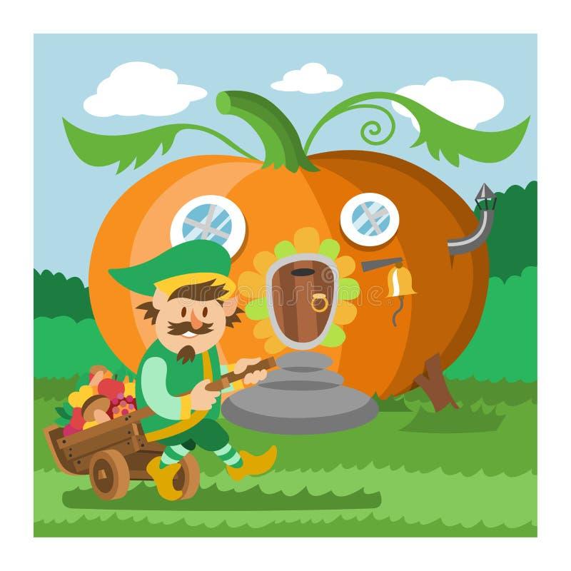Casa na árvore feericamente dos desenhos animados do vetor da casa do gnomo da fantasia e grupo de abrigo mágico da ilustração da ilustração stock
