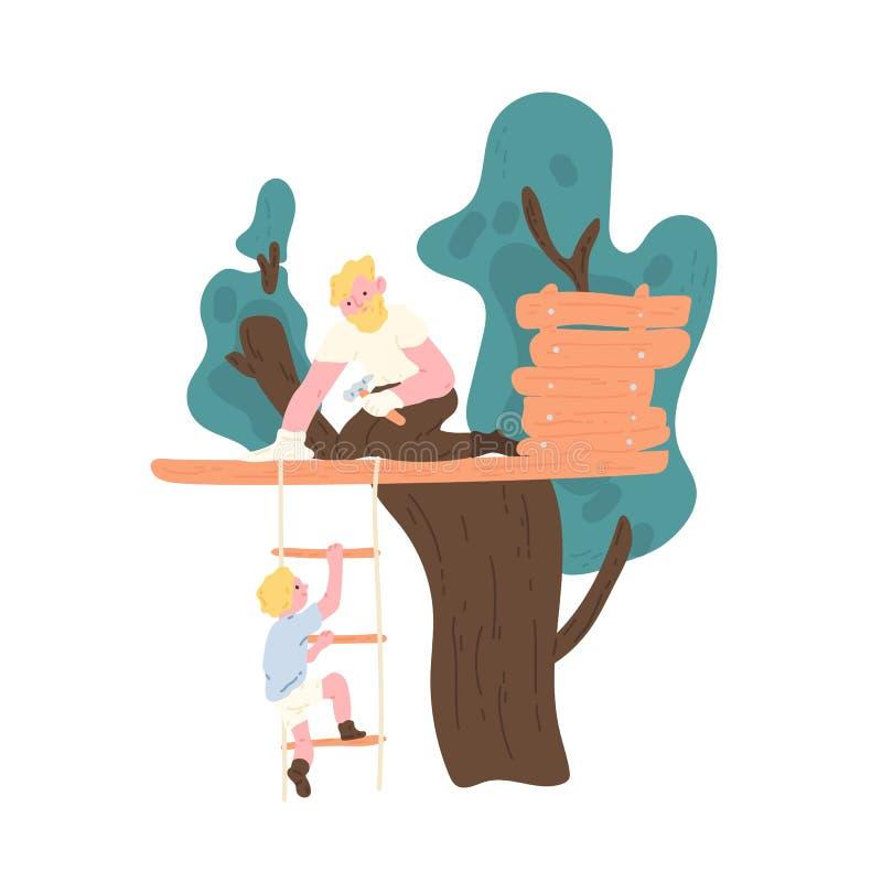 Casa na árvore feliz e filho da construção do pai que escalam acima a escada de corda Atividade recreacional exterior da família  ilustração royalty free