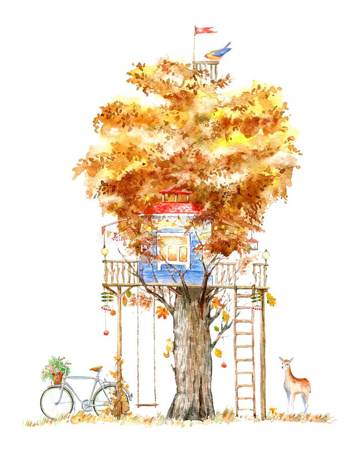 Casa na árvore para crianças Balanço, bicicleta, cervos, e teatro ilustração royalty free