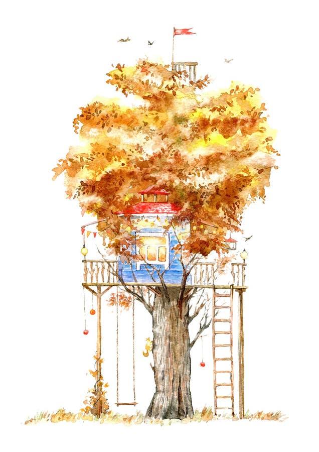 Casa na árvore para crianças balanço ilustração royalty free