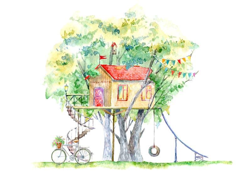 Casa na árvore para crianças Casa de SwingTree para crianças Balanço, bicicleta, corrediça, telescópio, e teatro Casa na árvore p ilustração do vetor