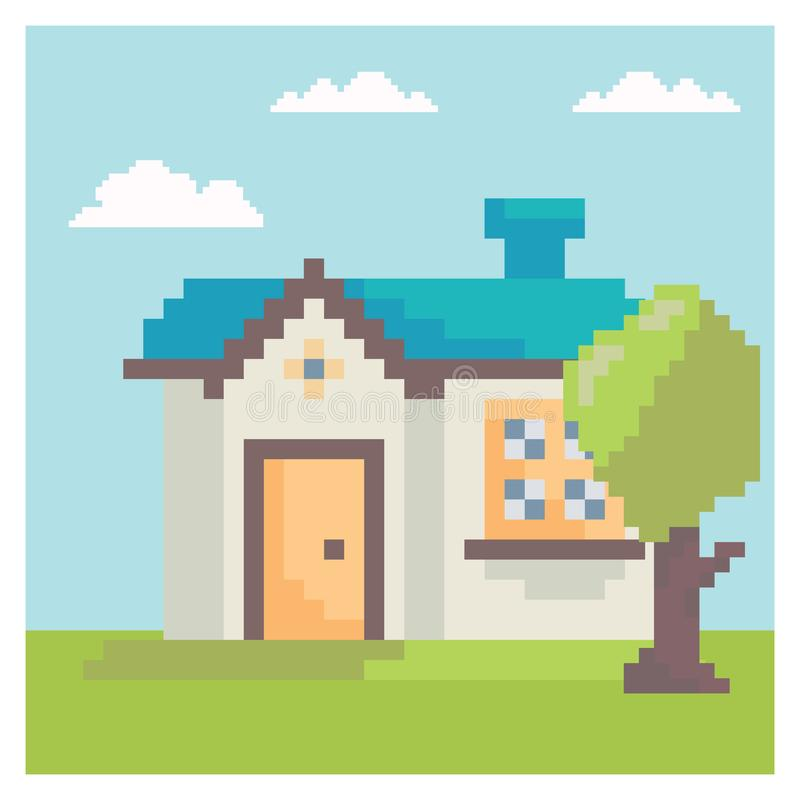 Casa na arte do pixel ilustração royalty free