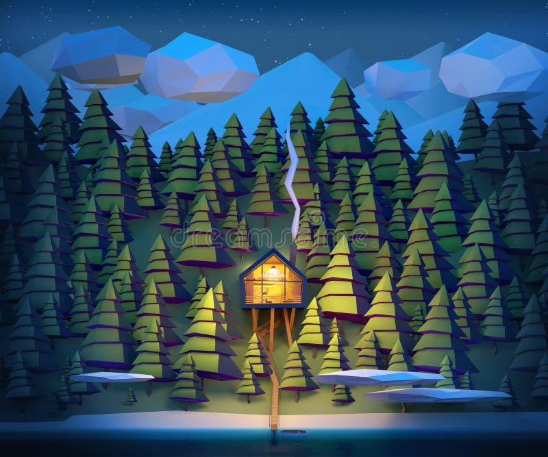 Casa na costa selvagem de um rio da montanha ilustração do vetor