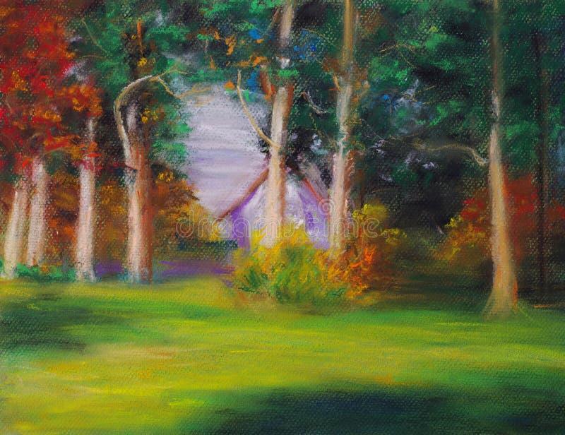 Download Casa na floresta ilustração stock. Ilustração de lona - 12802798
