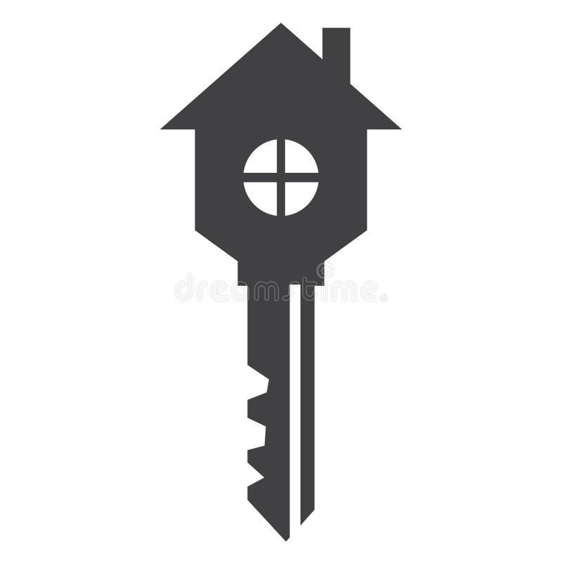 Casa na forma - ícone - do símbolo chave ilustração royalty free