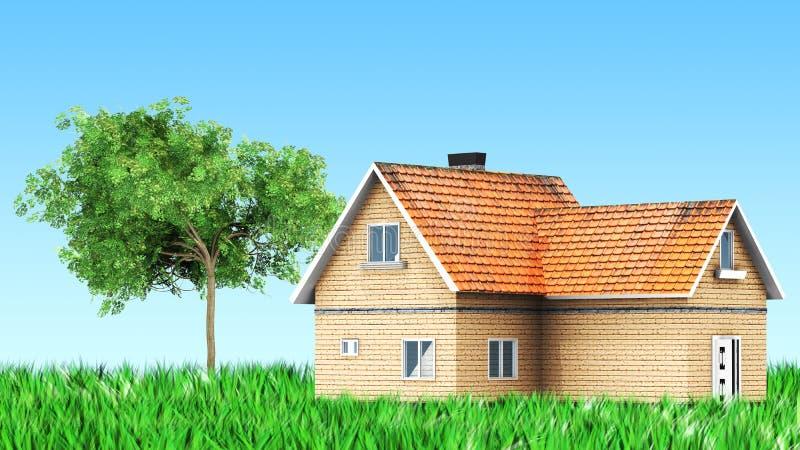 Casa na grama com árvore ilustração royalty free