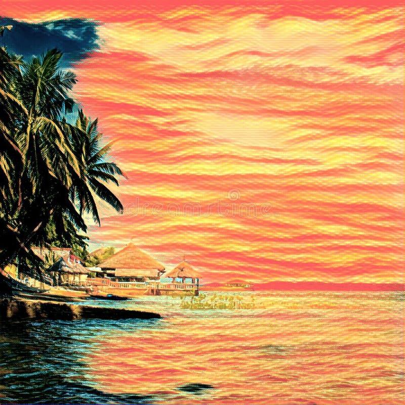 Casa na ilha tropical perto do mar e das palmeiras O por do sol colore a paisagem exótica ilustração do vetor