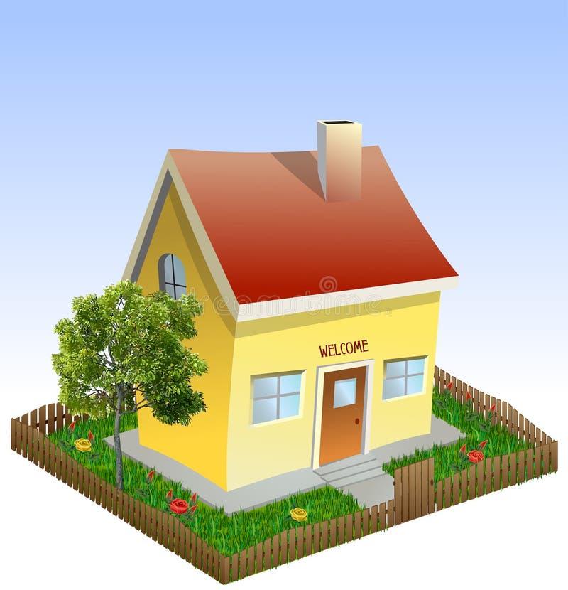 Download Casa Na Jarda Com árvore E Grama. Vetor Ilustração do Vetor - Ilustração de gramado, outono: 29839477