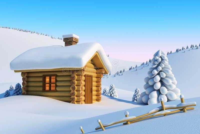 Casa na montanha da neve ilustração stock