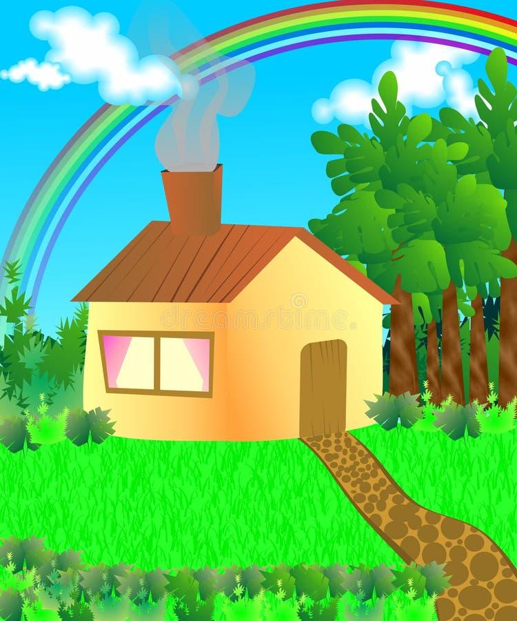 Casa nas madeiras ilustração do vetor