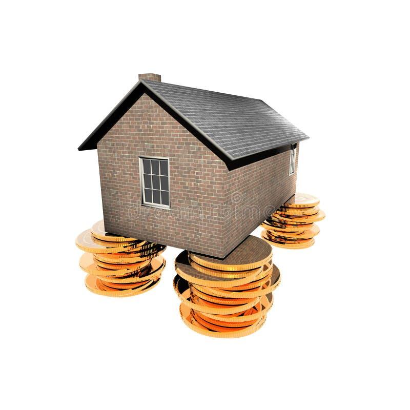 Casa nas moedas douradas ilustração do vetor