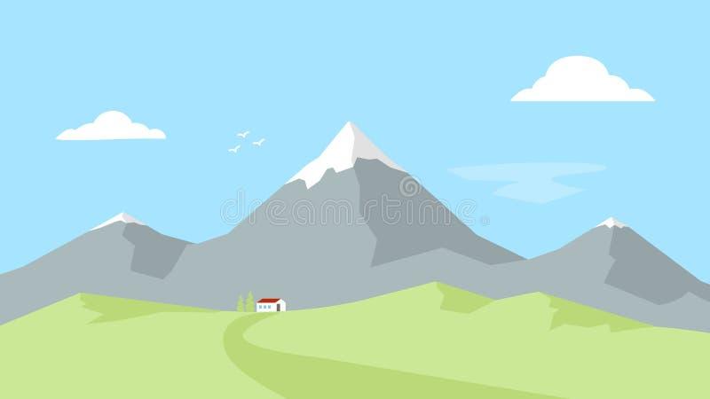 Casa nas montanhas Paisagem com picos de montanha Recreação ao ar livre Ilustração lisa do vetor ilustração stock