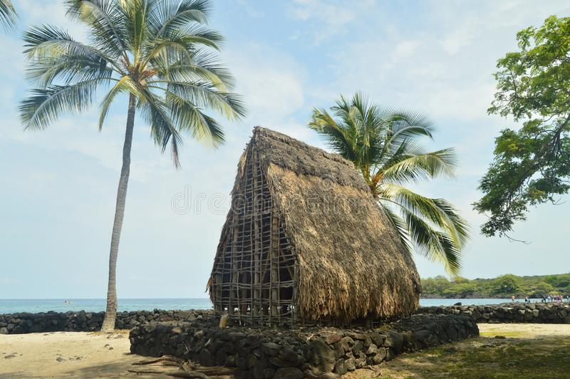 Casa nativa havaiana da vila imagens de stock