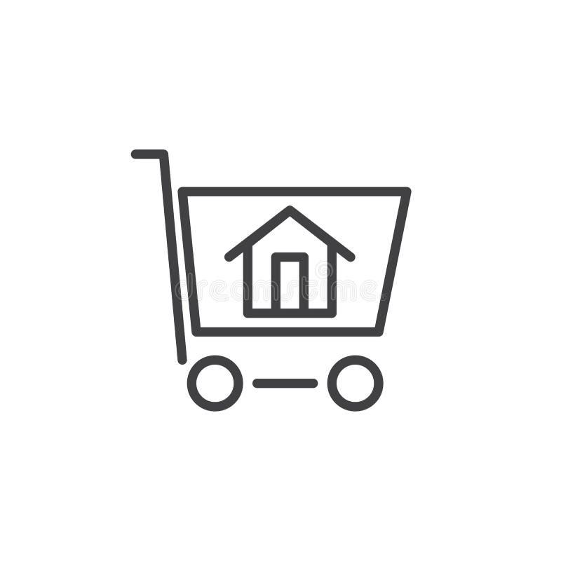Casa nella linea di carrello icona illustrazione di stock