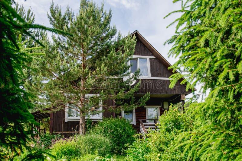 Casa nera, dipinta, di legno, planked con gli alberi, cespugli ed altre piante fotografia stock