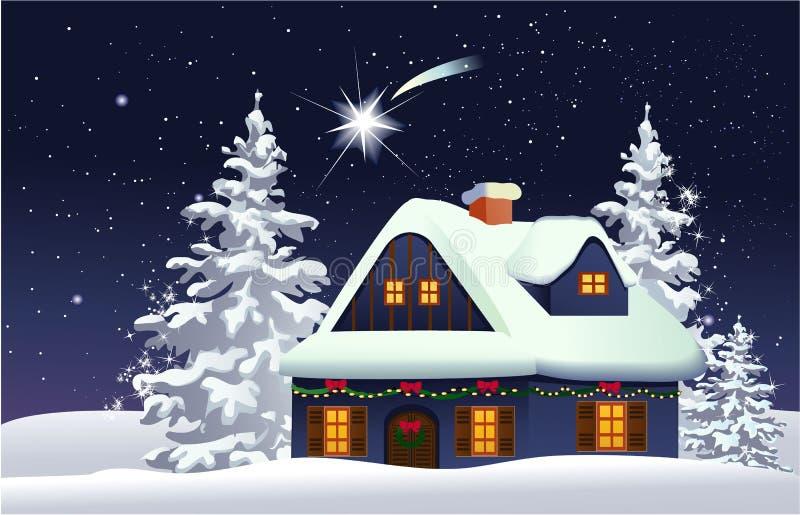Casa nevado do Natal ilustração royalty free