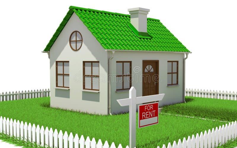 Casa no lote da grama com cerca ilustração stock