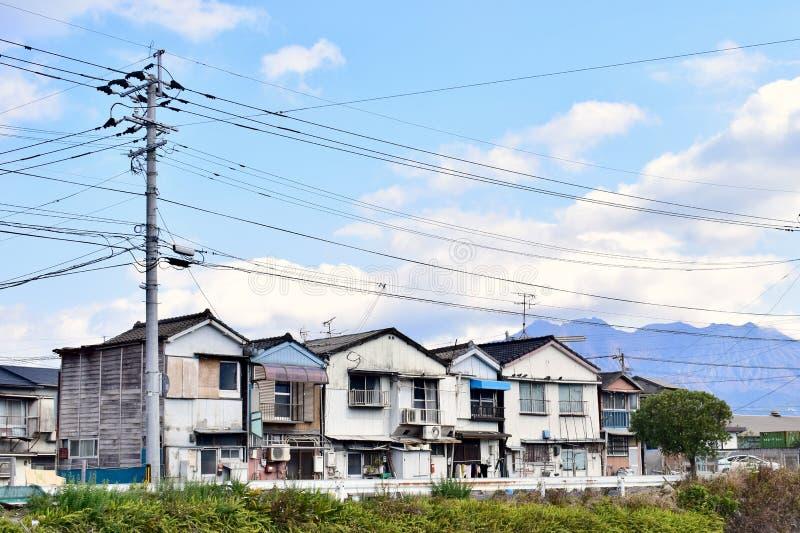 Casa no porto natural da ilha de Japão Kagoshima Sakurajima foto de stock royalty free