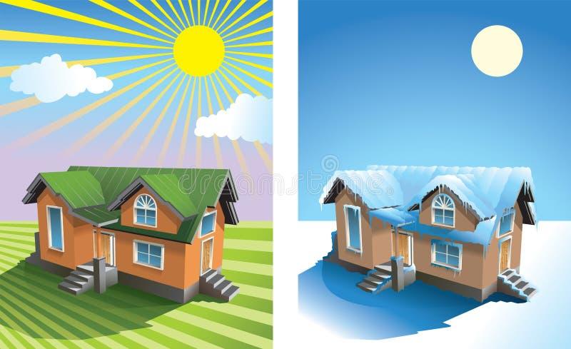Casa no verão e no inverno ilustração royalty free