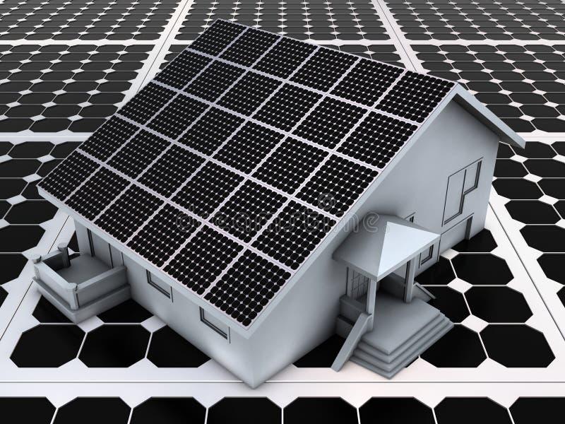Casa nos painéis solares ilustração do vetor