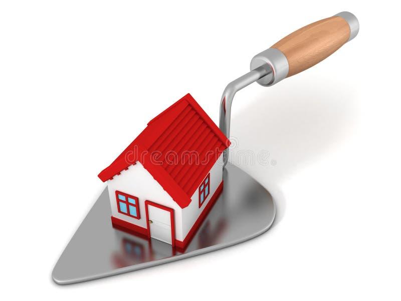 Casa nova com o telhado vermelho na pá de pedreiro da construção ilustração royalty free