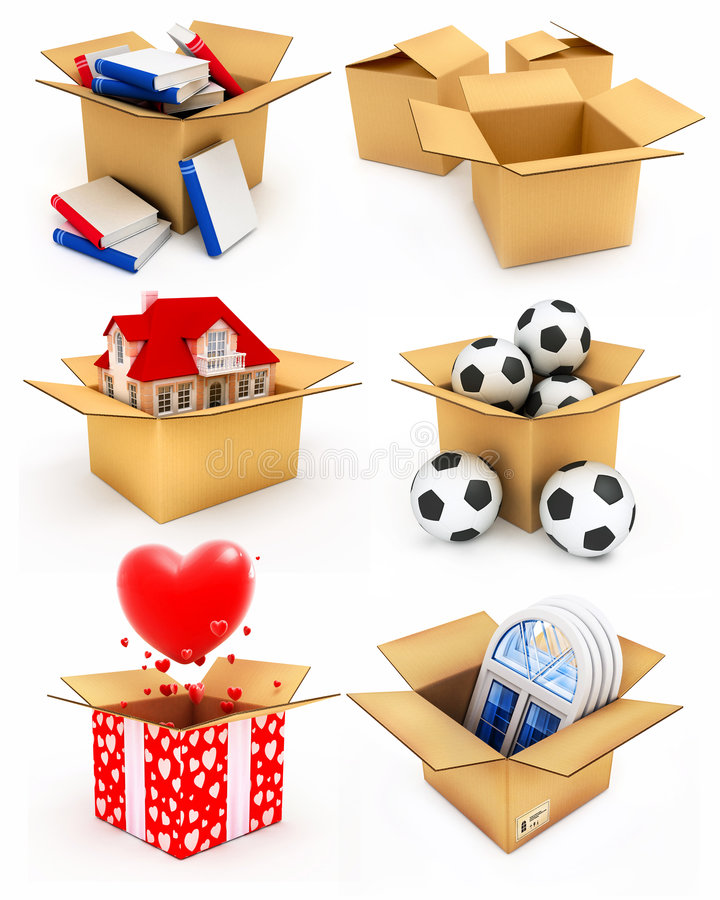 Casa nova, coração, indicador, livros e esferas na caixa ilustração do vetor