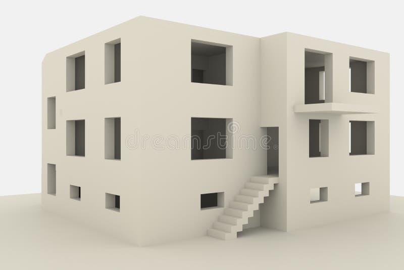 casa nova da família do Multi-andar no fundo branco ilustração do vetor