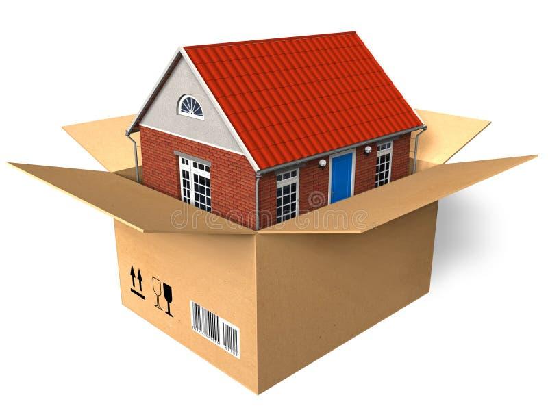 Casa nova na caixa ilustração royalty free