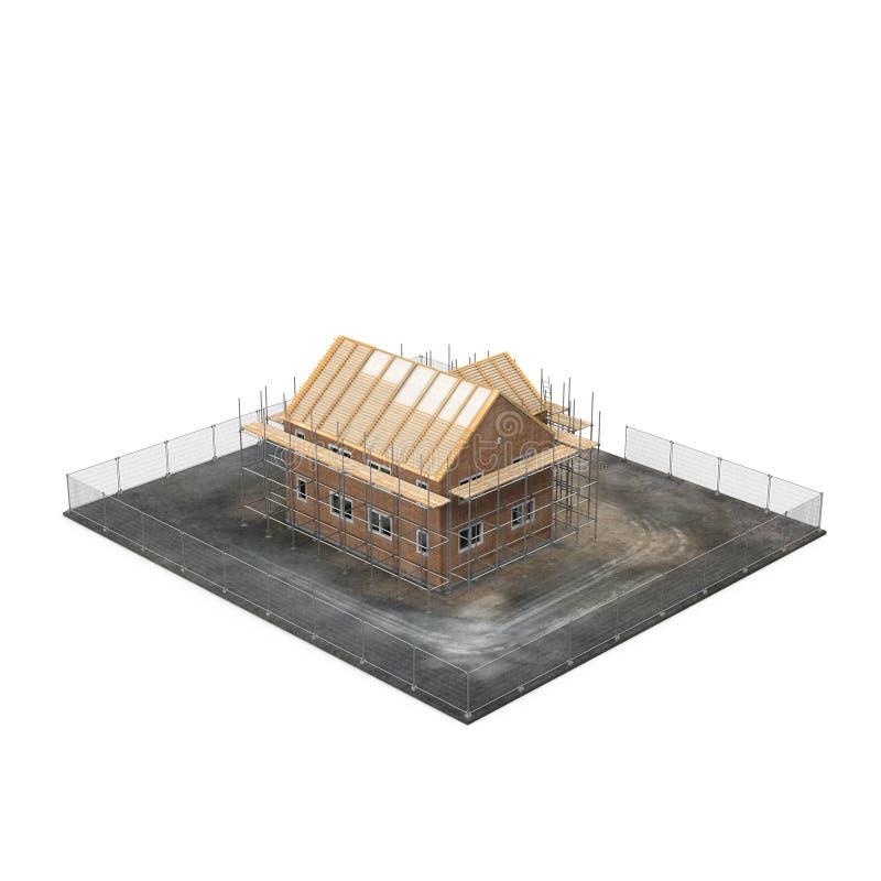 Casa nova sob a construção no branco ilustração 3D ilustração stock