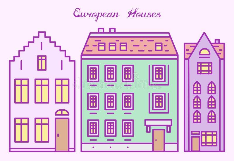 Casa o apartamentos de Europa Arquitectura linda en Países Bajos Vecindad con la calle clásica y hogares acogedores para la bande libre illustration