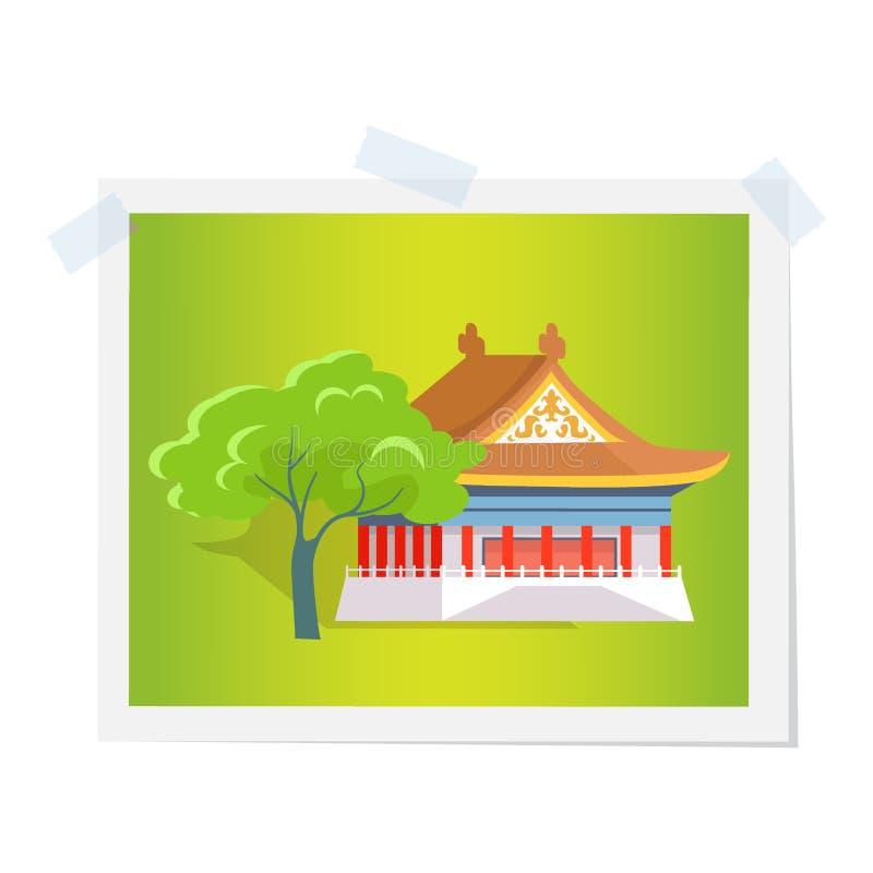 Casa o teatro oriental cerca de la imagen verde del árbol ilustración del vector