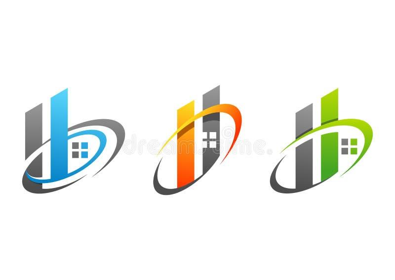 A casa, os bens imobiliários, a construção, a casa, o logotipo, o símbolo, o grupo das letras h do elemento do círculo e o vetor  ilustração royalty free