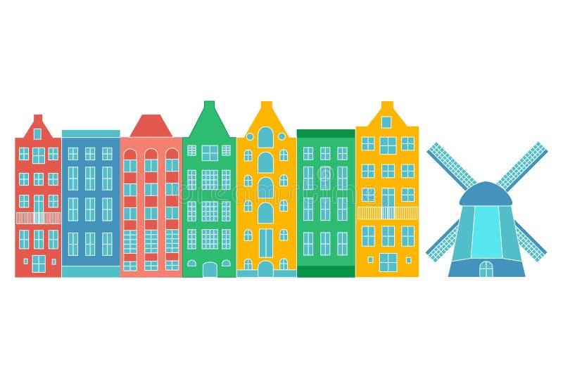 Casa ou apartamentos de Europa Ajuste da arquitetura bonito em Pa?ses Baixos casas velhas coloridas Amsterdão ilustração do vetor