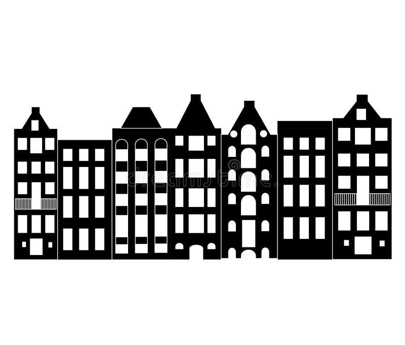 Casa ou apartamentos de Europa Ajuste da arquitetura bonito em Pa?ses Baixos silhueta velha de Amsterdão das casas ilustração do vetor