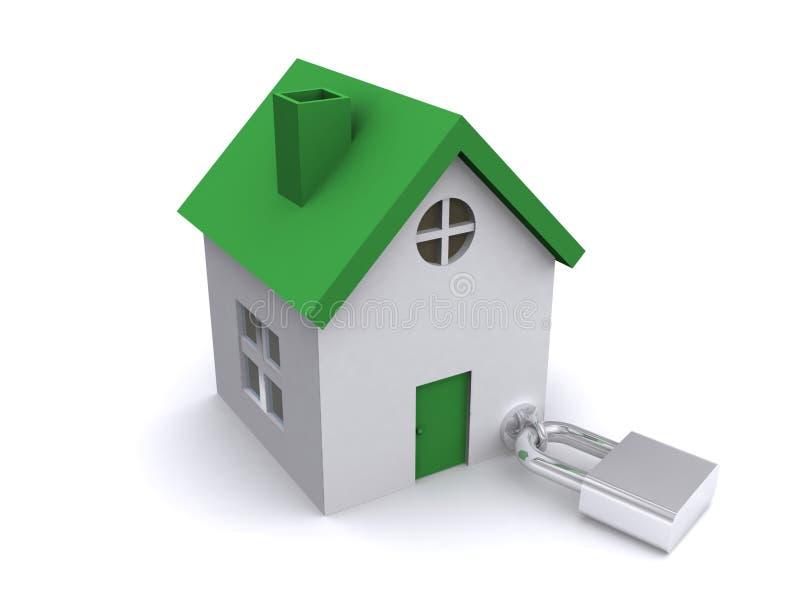 Casa ou HOME Padlocked ilustração stock