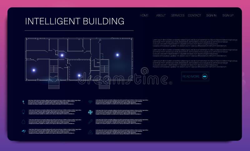 Casa ou infographic inteligente Fundo futurista de HUD Ícone de uma comunicação ilustração royalty free