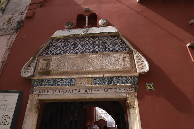 A casa ou a casa vermelha Rossa em Anacapri na ilha de Capri Itália imagens de stock