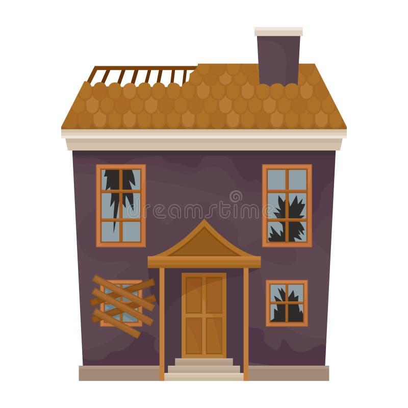 Casa púrpura de dos pisos con el tejado destruido y las ventanas quebradas Fachada del viejo hogar Edificio abandonado Icono plan libre illustration